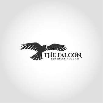 O falcão é um logotipo de ave com conceito de falcão voador