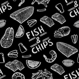 O famoso fast food britânico é fish and chips fish and chips seamless pattern