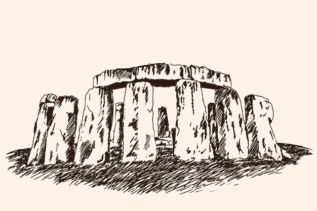 O famoso monumento arqueológico de arquitetura feito de grandes pedras. desenho de vetor rápido.