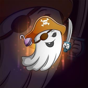 O fantasma dos piratas para o design do logotipo esport da ilustração