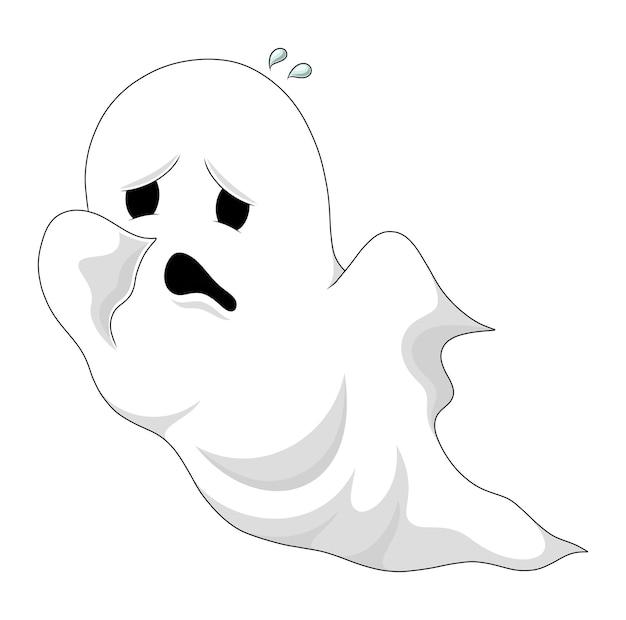 O fantasma está voando com uma cara triste de ilustração