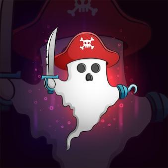 O fantasma pirata com o desenho da ilustração do mascote do esporte de espada