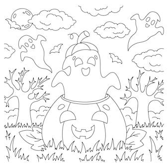O fantasma voa para fora da página do livro de colorir abóbora para crianças tema de halloween