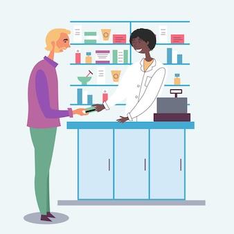 O farmacêutico aceita pagamento do cliente