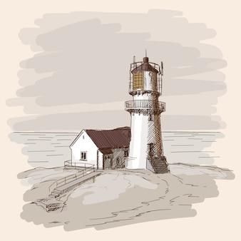 O farol brilha na costa de pedra. desenho vetorial.