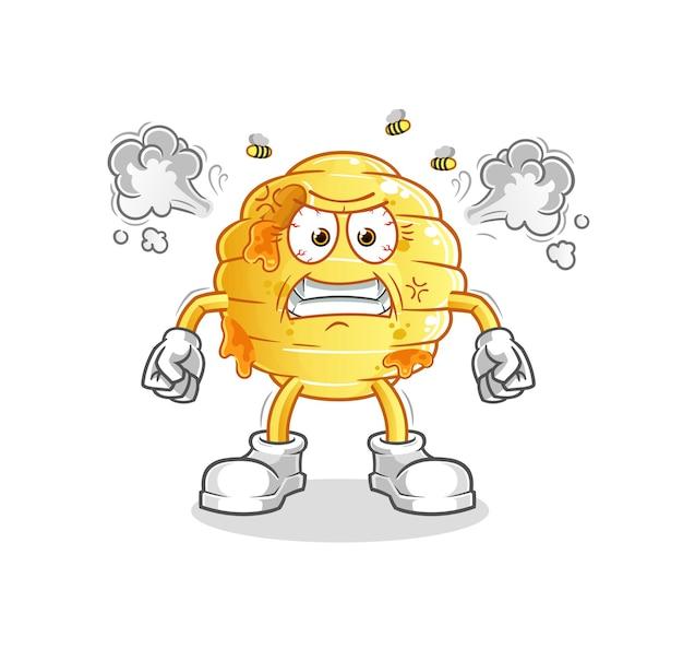 O favo de mel mascote muito irritado. desenho animado