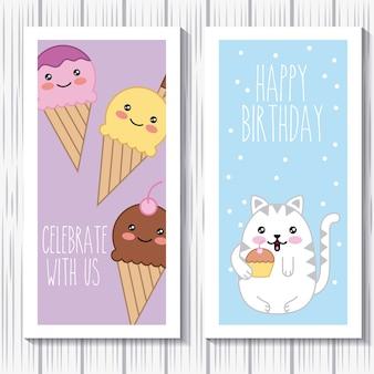 O feliz aniversario do gato e do gelado do kawaii comemora connosco cartões
