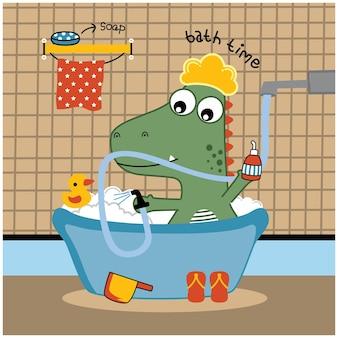 O feliz do dinossauro no banheiro engraçado animal cartoon