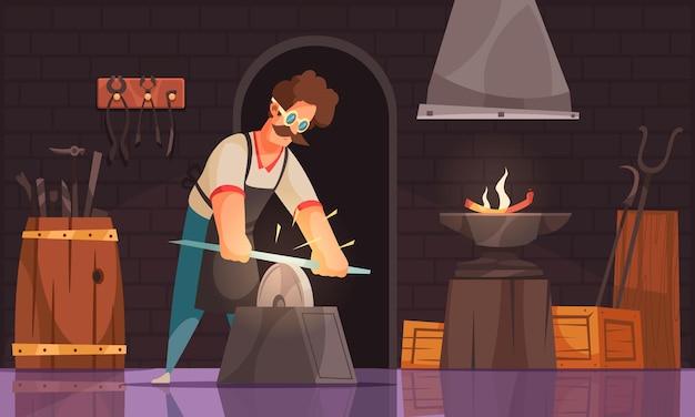 O ferreiro na oficina afia a lâmina da espada forjada em pedra de amolar usando segurança
