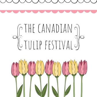 O festival canadense da tulipa. ilustração vetorial