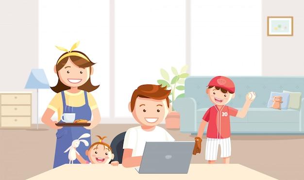 O filho e a filha querem brincar com o pai, trabalhando em casa.