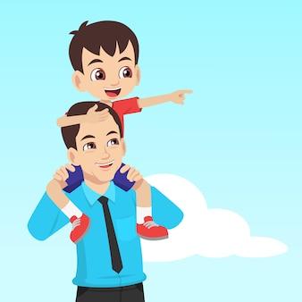 O filho sentado no ombro do pai e apontando