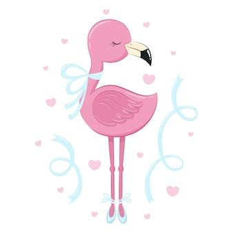 O flamingo rosa dança como uma bailarina
