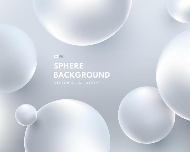 O fluido líquido abstrato circunda o fundo da cor prateada. design de forma de esfera de prata brilhante 3d.