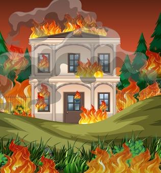 O fogo destrói o fundo da mansão