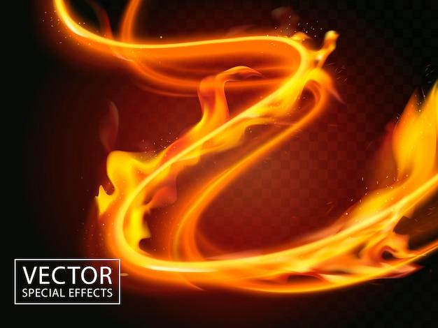 O fogo se expande através de faixas de luz, efeito especial
