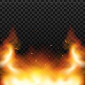 O fogo vermelho acende o vetor que voa acima. queima de partículas brilhantes. chama de fogo com faíscas no ar durante uma noite escura. ilustração vetorial