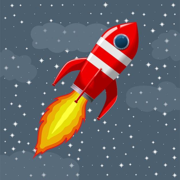 O foguete de espaço retro tira.