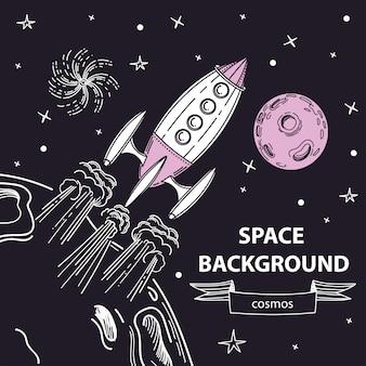O foguete decola da superfície do planeta.