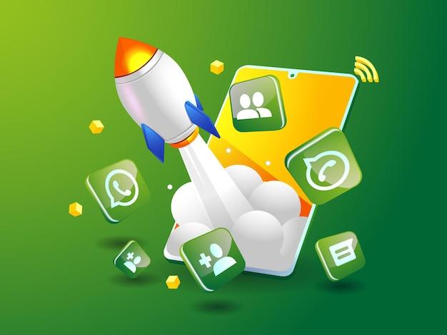O foguete do whatsapp impulsionando a mídia social com smartphone