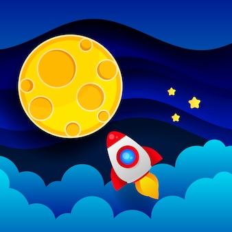 O foguete voa para a lua através da atmosfera ilustração do céu noturno
