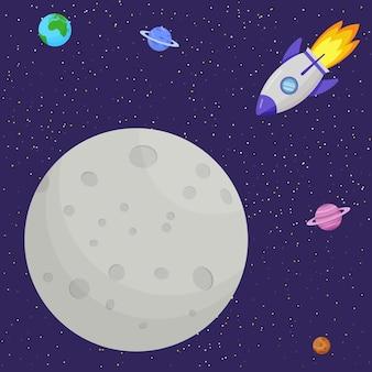 O foguete voa para a lua. sistema solar, espaço.
