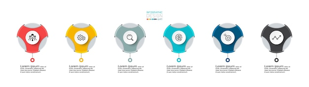 O formato circular pode ser usado para descrever uma variedade de apresentações, comunicações e publicidade e como um infográfico vetorial de marca