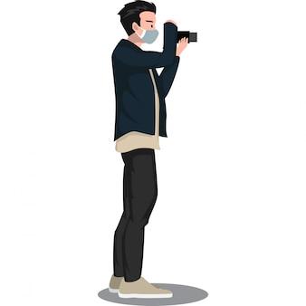 O fotógrafo está coletando evidências fotográficas para o repórter