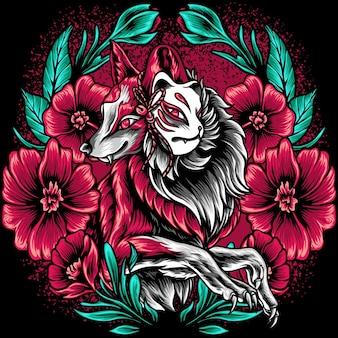 O fox kitsune com flores