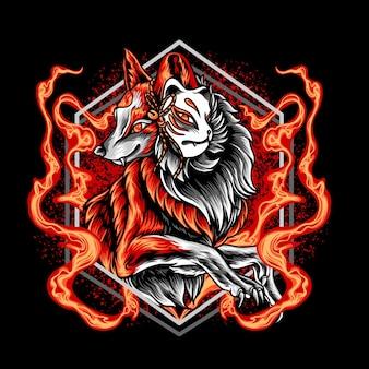 O fox kitsune em chamas