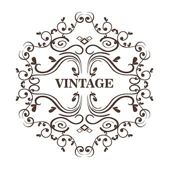 O frame decorativo e o vintage assinam sobre o fundo branco. ilustração vetorial.