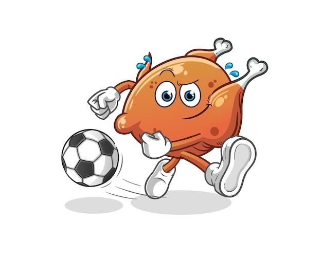 O frango frito chutando o mascote dos desenhos animados da bola. mascote mascote dos desenhos animados