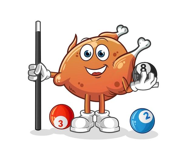 O frango frito joga bilhar. mascote dos desenhos animados