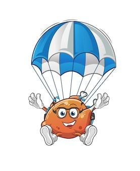 O frango frito paraquedismo. mascote dos desenhos animados