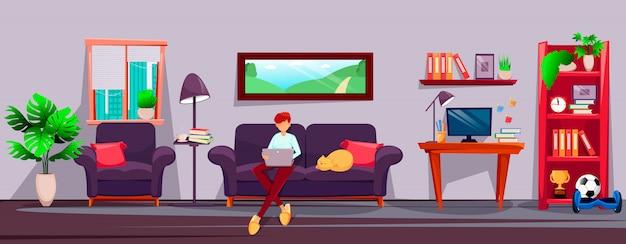 O freelancer do homem novo trabalha em casa