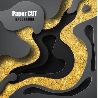 O fundo 3d abstrato com ouro e formas pretas cortou formas. projeto do fundo das camadas do papercut 3d. conceito de topografia abstrata ou papel de forma suave de origami e textura fluida líquida
