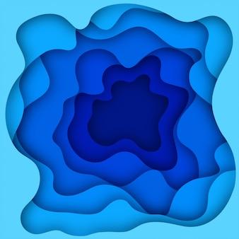 O fundo 3d azul abstrato e o papel cortaram formas. arte de escultura colorida Vetor Premium