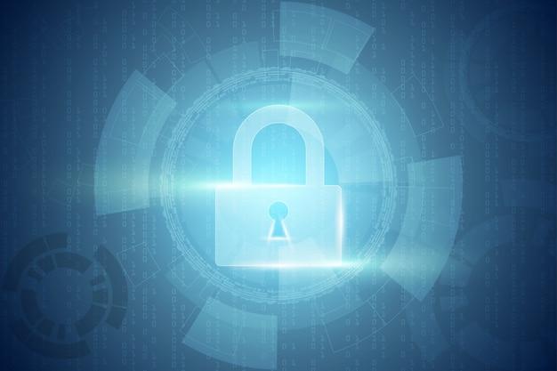 O fundo abstrato da tecnologia protege o conceito digital do cyber da segurança da inovação do sistema. proteção de dados pessoais. .