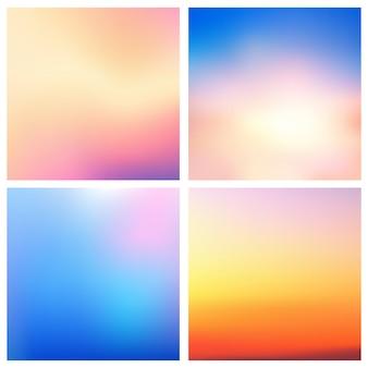 O fundo borrado colorido do vetor abstrato ajustou o jogo de 4 cores. conjunto de fundos turva quadrados - céu nuvens mar oceano praia cores