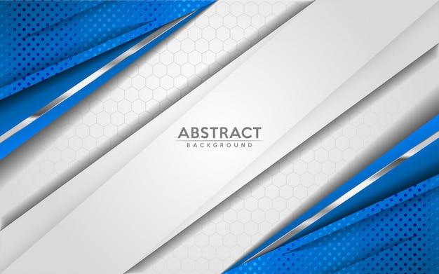 O fundo branco e azul abstrato moderno com sobreposição 3d mergulha o efeito da textura.