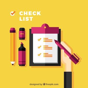 O fundo colorido com lista de verificação em design plano