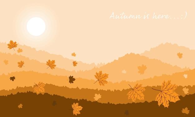 O fundo da paisagem do outono com outono está aqui texto.