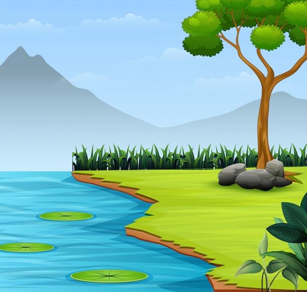 O fundo de cena de natureza com lago e montanha