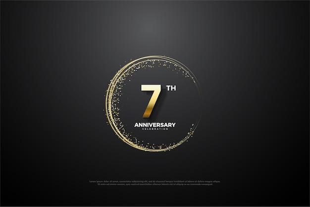 O fundo de seu sétimo aniversário com números e um respingo dourado circular é imperfeito