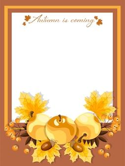 O fundo do outono com outono é texto de vinda.
