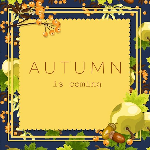 O fundo floral do outono com outono é texto de vinda.