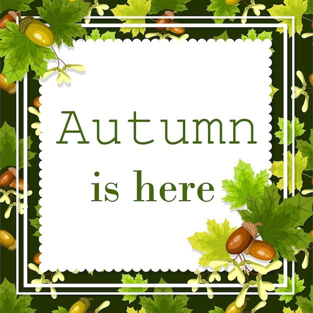 O fundo floral do outono com outono está aqui texto.