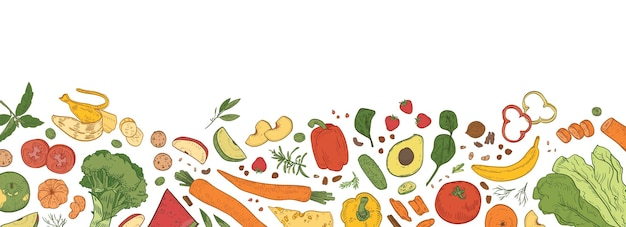 O fundo horizontal com borda consistia em alimentos orgânicos frescos