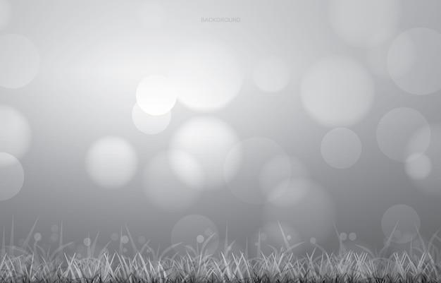 O fundo simples do campo de grama com luz borrou o bokeh.