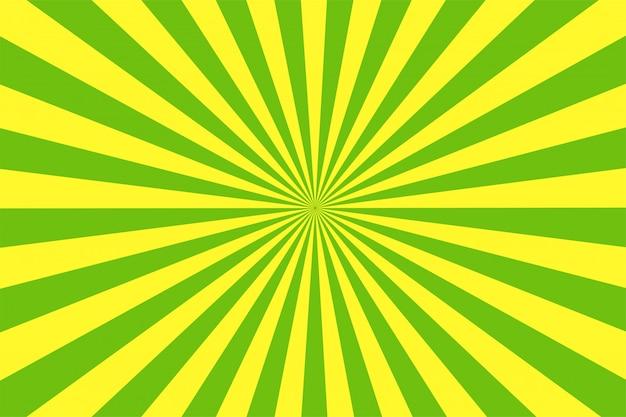 O fundo verde e amarelo do estilo dos desenhos animados.